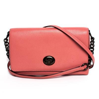 Coach Pink Leather Turnlock Handbag