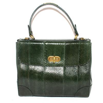 Ralph Lauren Green Tiffin Snakeskin Handbag