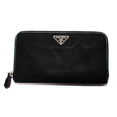 Prada Black Nylon Zip Wallet