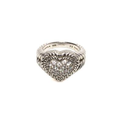 Judith Ripka Size 7 Sterling Silver Diamonique Ring
