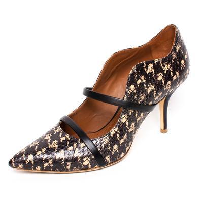 Malone Size 38 Black Python Leather Maureen Heels