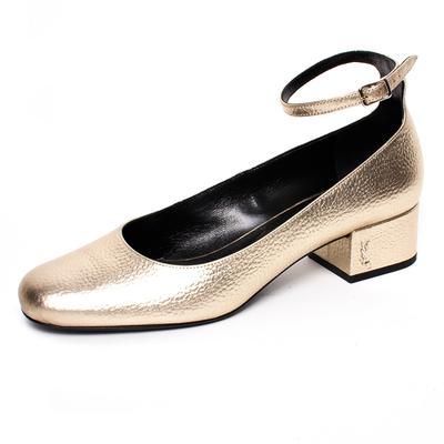 YSL Size 39 Gold Metallic Leather Babies Heels