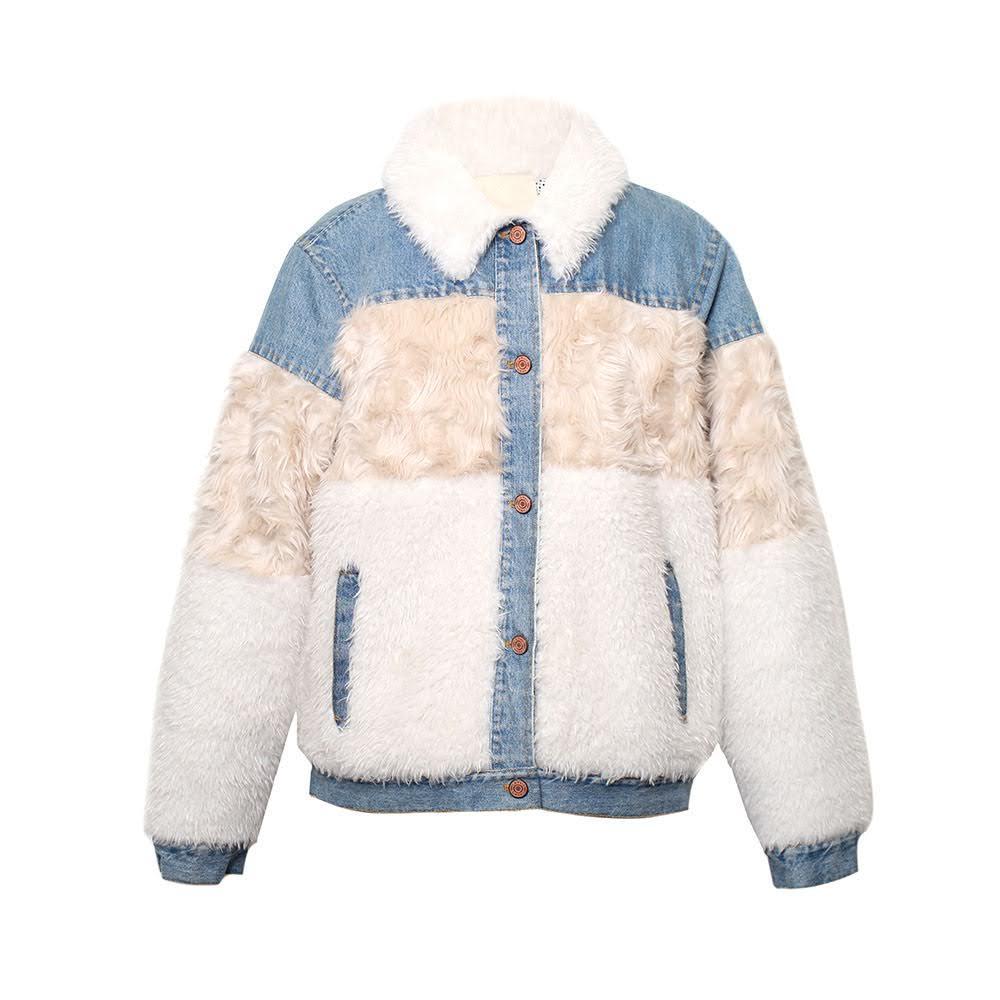 Rebecca Taylor Size Large Furry Denim Jacket