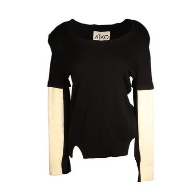 Aiko Size Medium Leather Patch Sweater