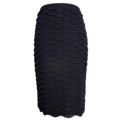Chanel Size 38 Black 2011 Scallop Navy Stripe Skirt