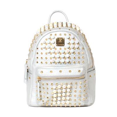 MCM Stark Pearl Studded Mini Backpack