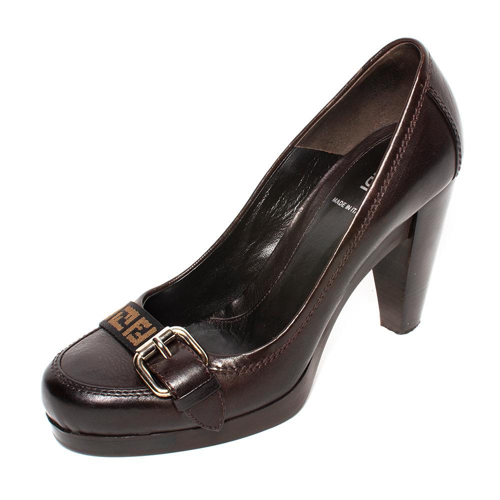 Fendi Size 38 Brown Zucca Trim Leather Heels