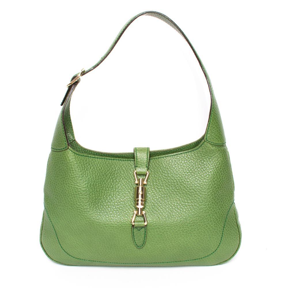 Gucci Small Green Pebbled Leather Jackie Handbag