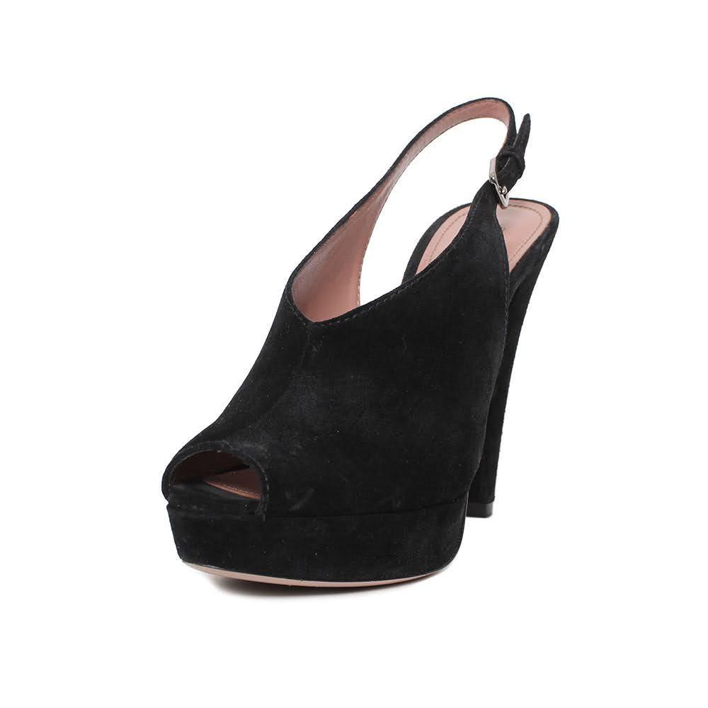 Prada Size 38.5 Black Suede Heels