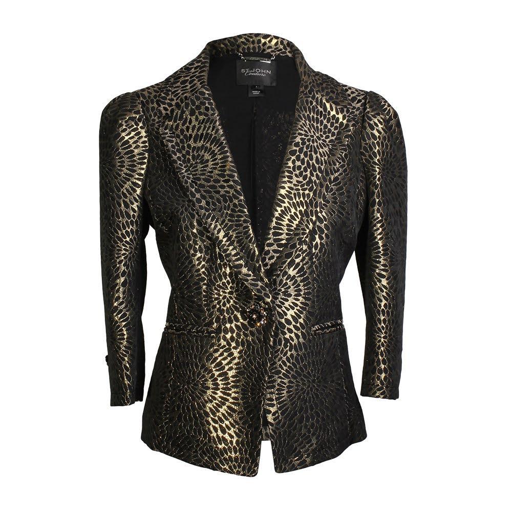 St.John Size 2 Couture Gold Lame Blazer