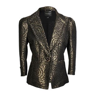St. John Size 2 Couture Gold Lame Blazer