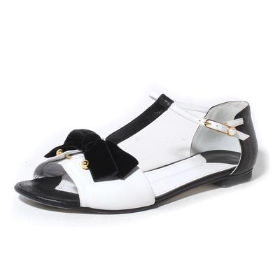 Chanel Size 39.5 Black and White T-Strap Sandal with Velvet Bow