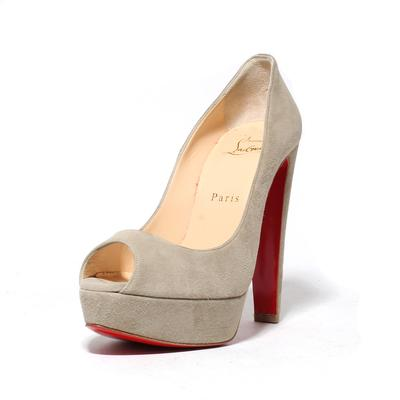 Christian Louboutin Size 37.5 Grey Suede Platforms