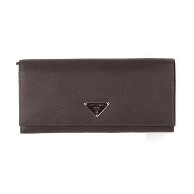 Prada Brown Nylon Long Bifold Wallet