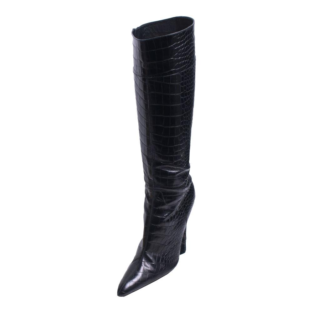 Prada Size 40 Olos Croc Embossed Boots