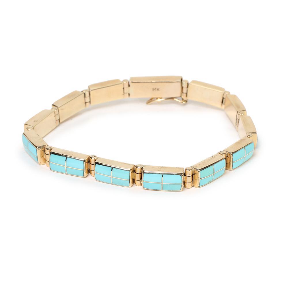 14kyg Turquoise Inlay Bracelet