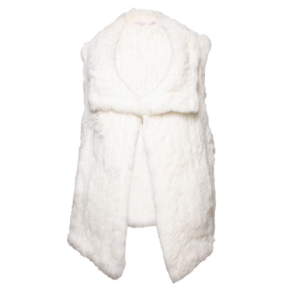 Calypso St Barth Size Large White Rabbit Fur Vest