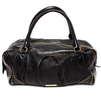 Burberry Black Leather 2 Handle Handbag