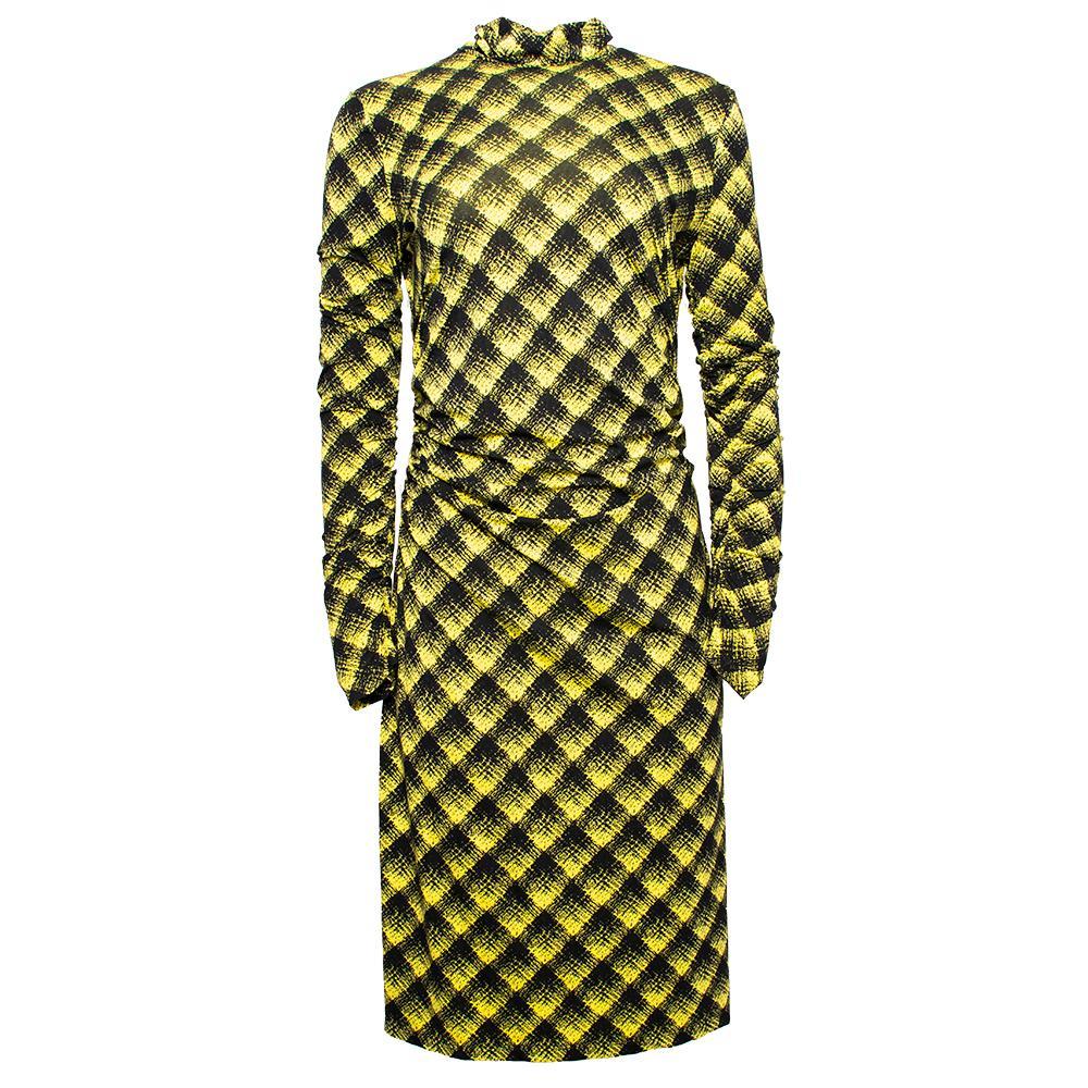 Proenza Schouler Size Medium Yellow Sheer Stretch Jersey Dress
