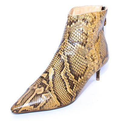 Alexandre Birman Size 37 Yellow Snake Print Kitten Boots
