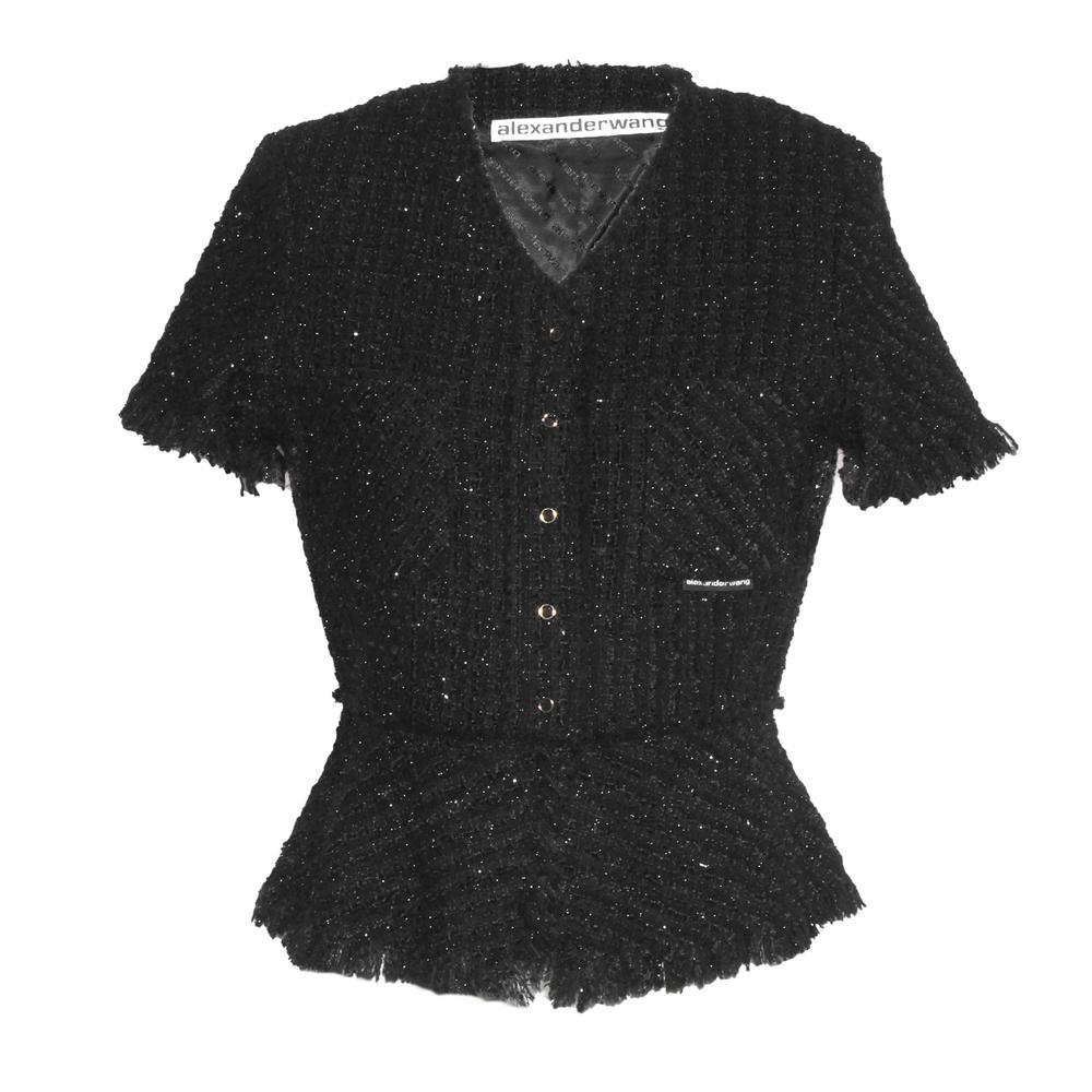 Alexander Wang Size 6 Tweed Button Top