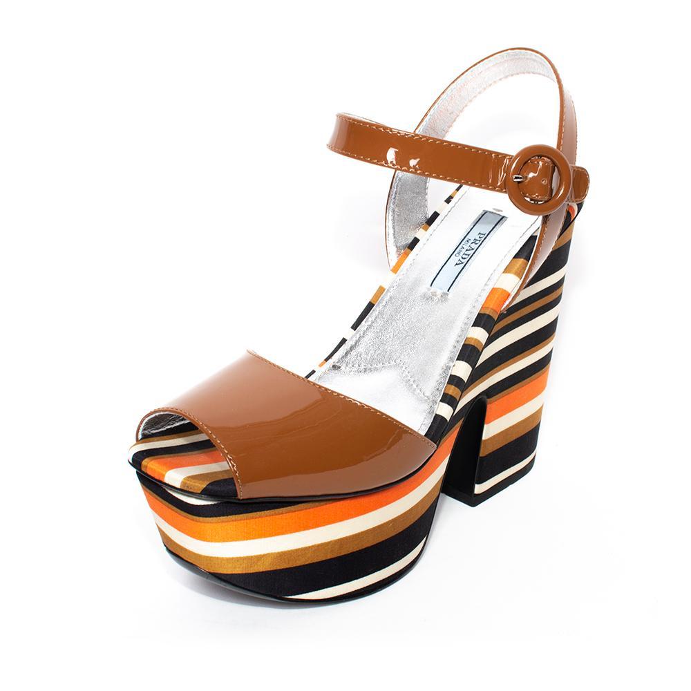 Prada Size 38.5 Brown Striped Patent Platform Heels
