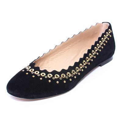 Chloe Size 38.5 Black Suede Grommet Flats