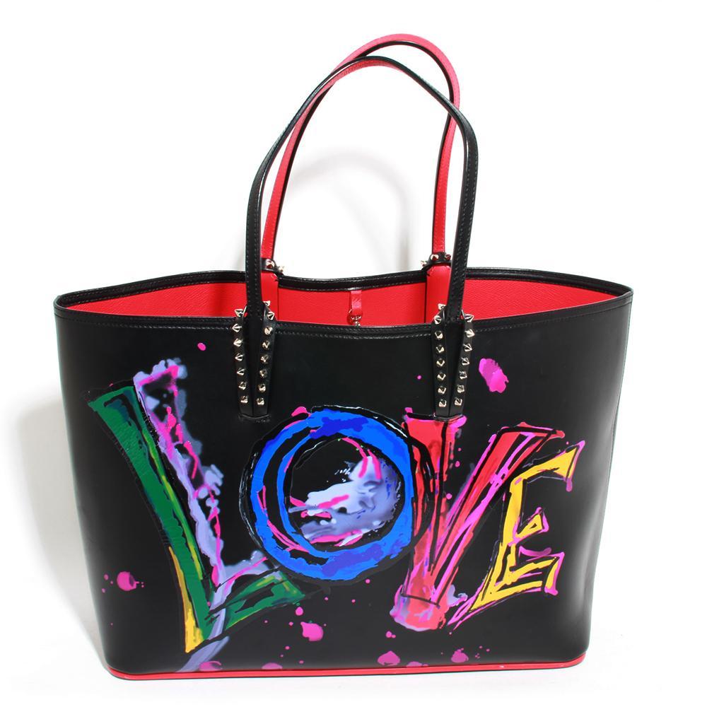 Christian Louboutin Black Leather Love Cabata Tote Bag