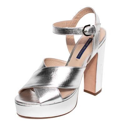 Stuart Weitzman Size 8 Metallic Silver Platform Heels