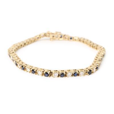 14KYG Diamond & Sapphire Tennis Bracelet