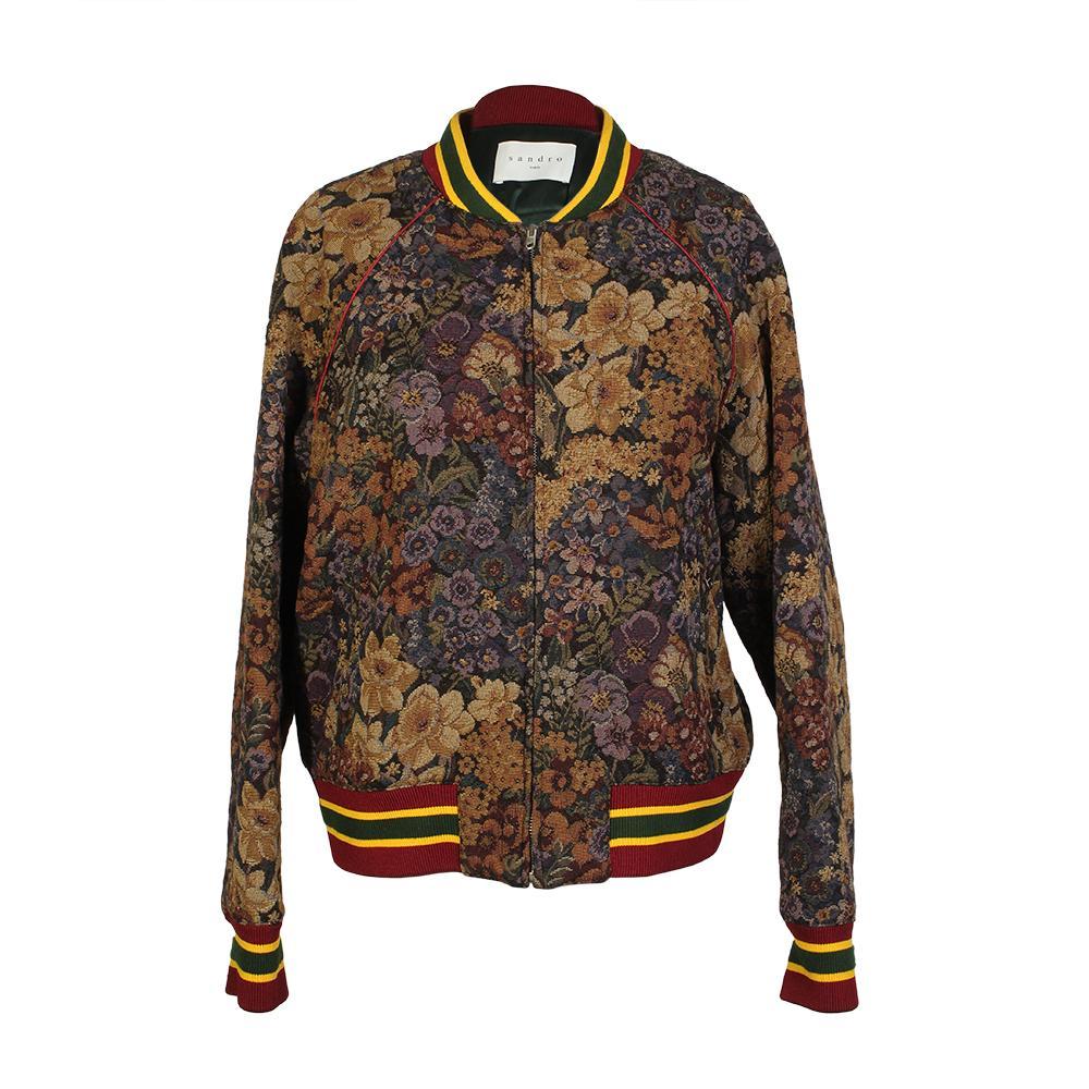 Sandro Kenzy Size Large Floral Bomber Jacket