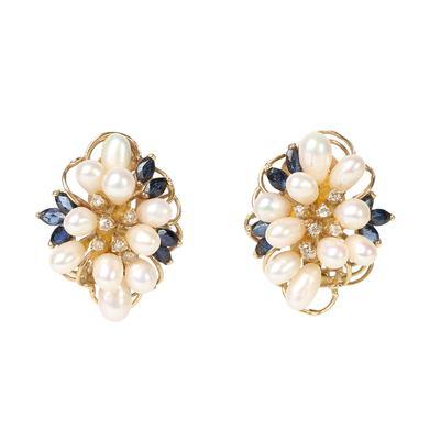 Artisan 14KYG Pearl, Diamond & Sapphire Earrings + Brooch