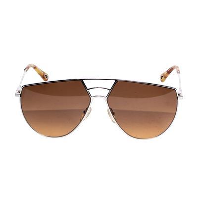 Chloe Gold Metal Aviator Sunglasses