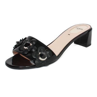 Fendi Size 38 Black patent Floral Slide Low Heels