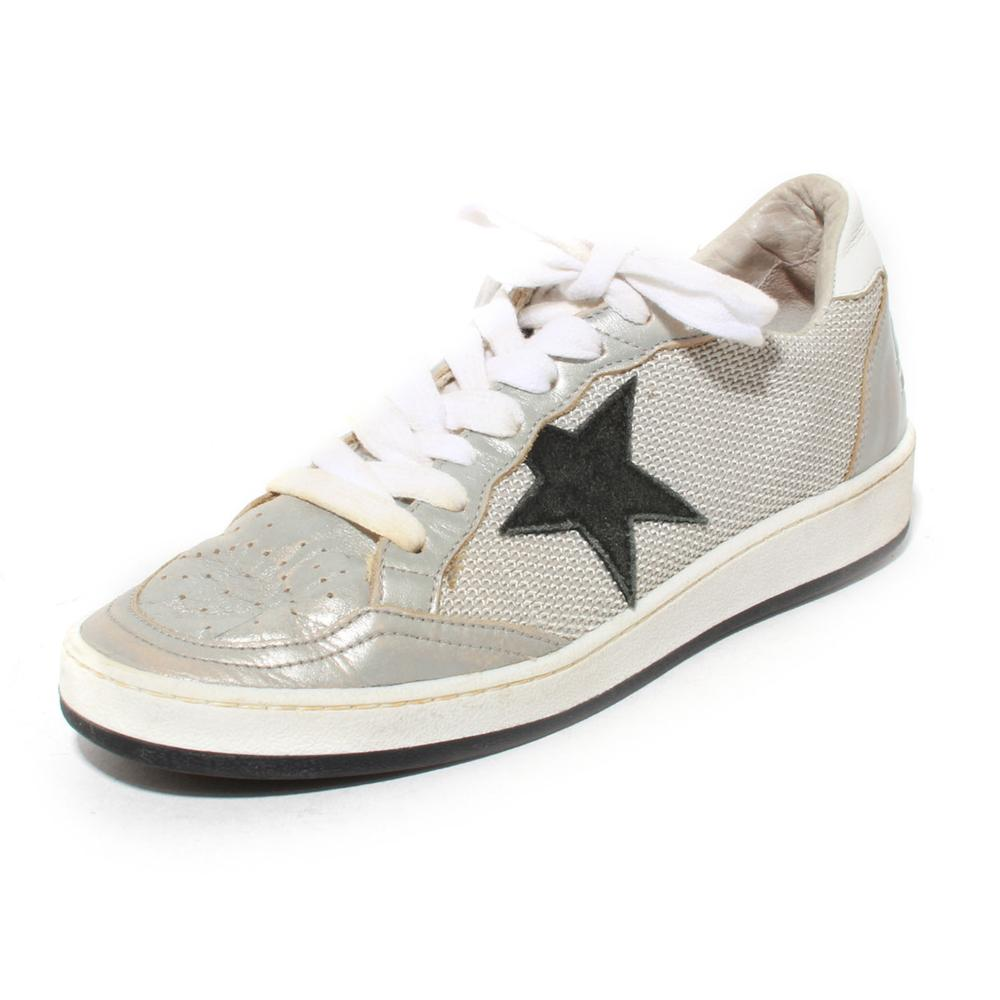 Golden Goose Size 38 Grey Knit Ballstar Sneakers