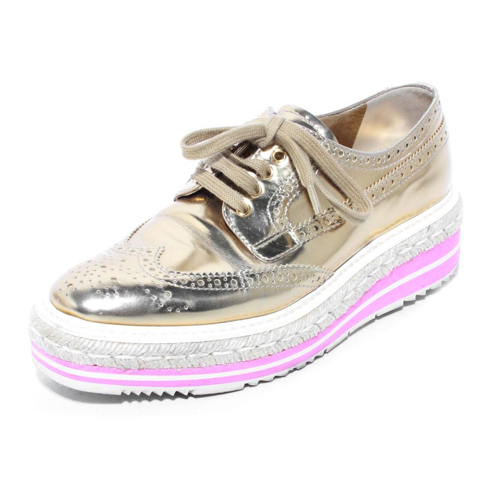 Prada Size 37 Metallic Gold Wingtip Platform Sneakers