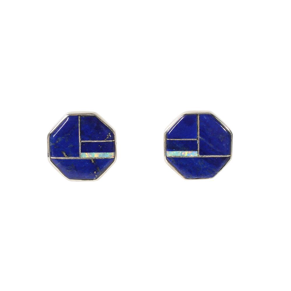 Calvin Begay Multi Inlay Octagon Earrings