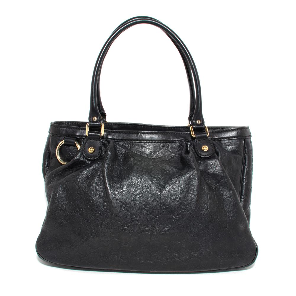 Gucci Black Leather Monogram Handbag