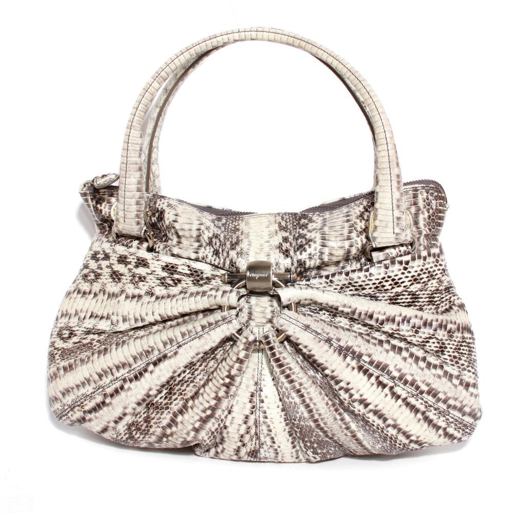 Salvatore Ferragamo Cream Python Leather Hobo Bag