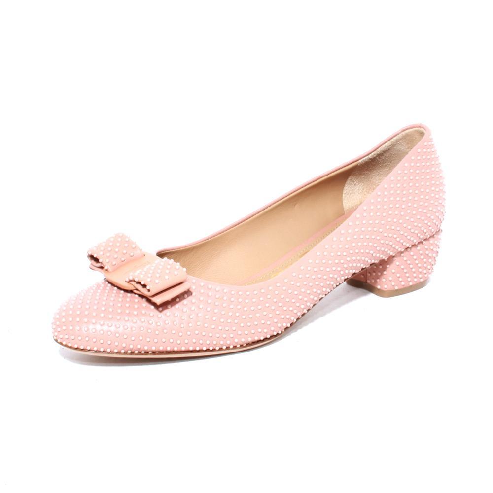 Salvatore Ferragamo Size 7 Pink Micro Studded Block Heels