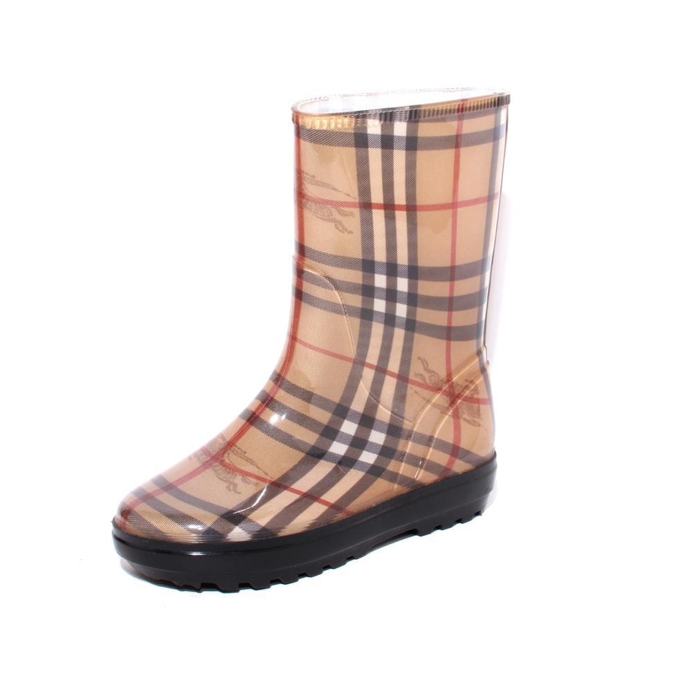 Burberry Size 35 Nova Check Haymarket Rain Boots