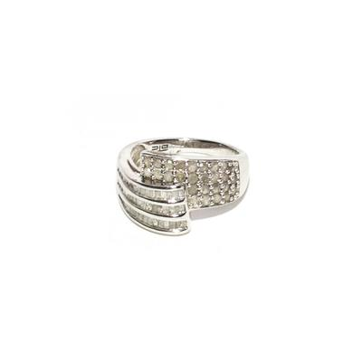 Sterling Silver Size 7 Diamond Twist Ring