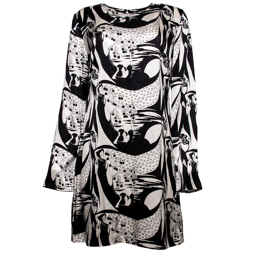Reformation Size 12 Black Print Silk Dress