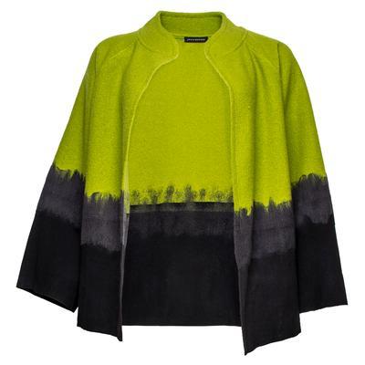 Josie Natori Size Large Green Felted Wood Jacket