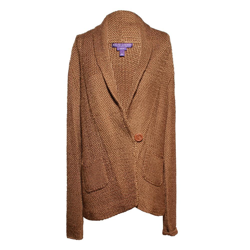 Ralph Lauren Size Large Brown Hand Knit Silk Jacket