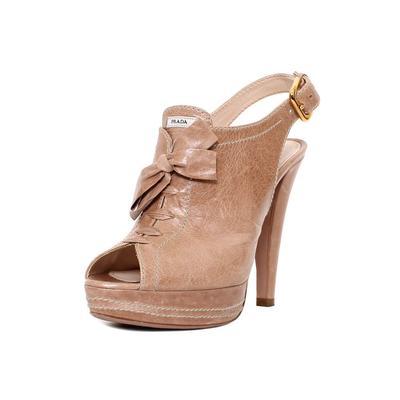 Prada Size 38 Tan Peep Toe Platform