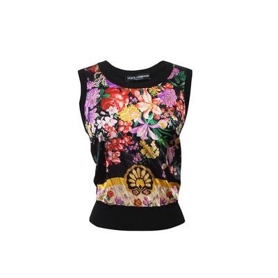 Dolce & Gabbana Size 40 Black Floral Top