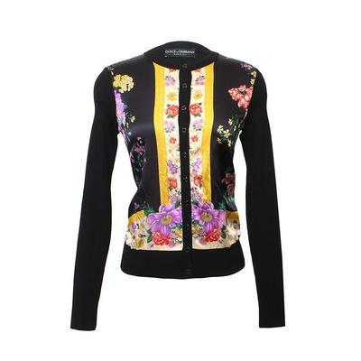 Dolce & Gabbana Size 40 Black Floral Cardigan