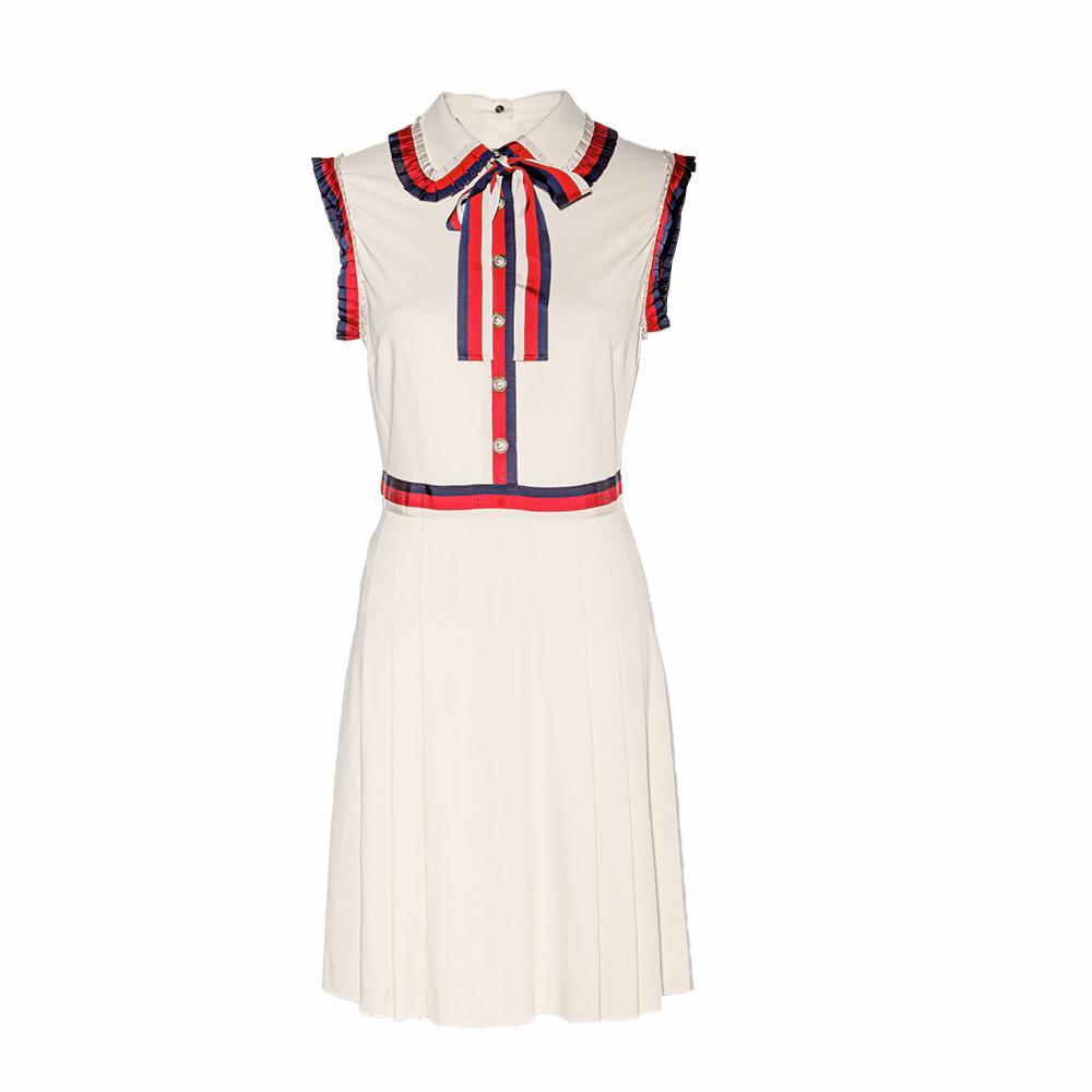 Gucci Size Medium Red, Blue, & Off- White Short Dress