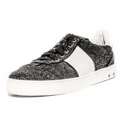 Valentino Size 37.5 Black Rockstud Glitter Sneaker